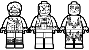 Lego Spiderman And Cyclops Human Torch Coloring Book Pages Kids Fun Art