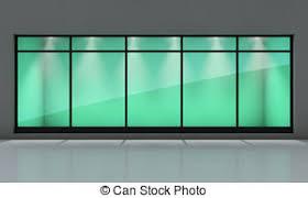Empty Shop Window Display Storefront 3d Rendering Clipart