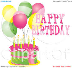 Royalty Free Vector Clip Art Illustration of a Pink And Green Cake With Candles Party Balloons And Happy Birthday Text by Pams Clipart