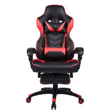 Red Recliner Gaming Chair For Adults With Footrest High Back Computer  Gaming Chair PU Leather Office Chair Adjustable Swivel Chair With Headrest  And ...