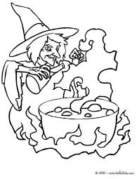 Witch Casts A Spell Preparing Malefic Potion Coloring Page