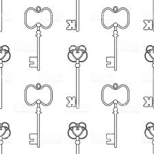 Black And White Seamless Pattern With Vintage Old Keys For Coloring Books Pages