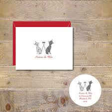 Cat Wedding Thank You Cards Cats Bridal Shower Themed Rustic