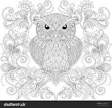 Owl And Floral Ornament Adult Antistress Coloring Page Black White Hand Drawn Doodle