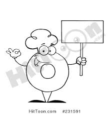 Coloring Page Outline Of A Donut Character Wearing Chef Hat And Holding Blank Sign 231591