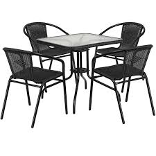 Flash Furniture 28'' Square Glass Metal Table With Rattan Edging And 4  Black Rattan Stack Chairs, Multiple Colors Jack Daniels Whiskey Barrel Table With 4 Stave Chairs And Metal Footrest Ask For Freight Quote Goplus 5 Pcs Black Ding Room Set Modern Wooden Steel Frame Home Kitchen Fniture Hw54791 30 Round Silver Inoutdoor Cafe 0075modern White High Gloss 2 Outdoor Table Chairs Metal Cafe Two Stock Photo 70199 Alamy Stainless 6 Arctic I Crosley Kaplan 4piece Patio Seating Oatmeal Cushion Loveseat 2chairs Coffee Rustic And Pieces Glass Tabletop Diy Patterns Pads Brown Tufted Target Grey
