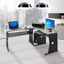 Computer Desk L Shaped Glass by L Shaped Desk Tempered Frosted Glass Corner Computer Pc Laptop