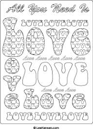 Love Word Art Retro Coloring Page