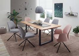 essgruppe esszimmer holztisch mit 6 stühlen eiche massiv rosa grau