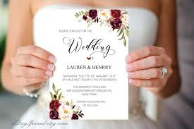 Burgundy Wedding Invites Floral Invitation Template Printable Rose Rustic Chic Winter