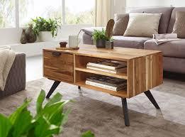 finebuy couchtisch 95x45x45 cm akazie wohnzimmertisch massivholz rechteckig holztisch mit stauraum sofatisch mit schublade tisch wohnzimmer