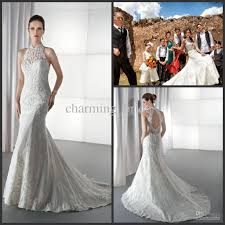 elegant mermaid drop back bridal gown demetrios lace high