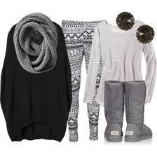 Sweater Grey Ugg Boots Earrings Leggings Scarf Cute Pants Black