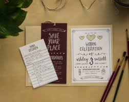 Literary Wedding Invitations Printable Library Card RSVP Love Story Book Lover