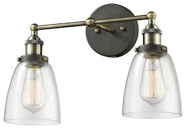 simplicity industrial edison antique glass 2 light wall sconces