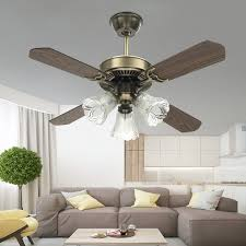 36 Inch Retro Classic Ceiling Fan Light Fixture Decoration 4 Blades Vintage Fan Lamp For Modern Restaurant Living Room With Glass Lampshade Remote