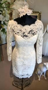 couture short wedding dress long sleeve ivory white size