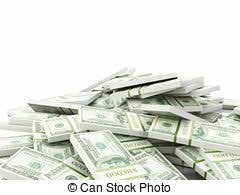 Stack of new 100 us dollars banknotes Creative business stock