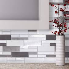 Thinset For Glass Mosaic Tile by Elida Ceramica Avalanche White Linear Mosaic Glass And Metal Wall
