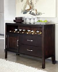 Ashley Trishelle D550 59 47quot Small Dining Room Server With Saber Legs Hidden Shelf