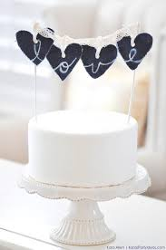 DIY Denim Jean Bleach Letter Love Heart Wedding Cake Topper Via Karas Party Ideas