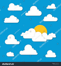 100 Flat Cloud Paper S Sky Set White Stock Vector Royalty Free