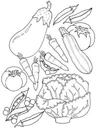 Fruits And Vegetables Assorted Of Coloring Page