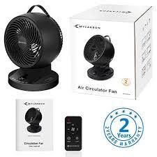 mycarbon ventilator leise 25db 12 geschwindigkeiten ventilator 35w 10h timer tischventilator mit fernbedienung luftzirkulator automatisch oszillierend