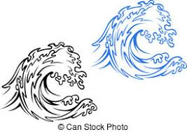Sea wave Big sea wave in black and blue variations in