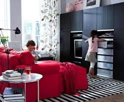 2012 ikea living room red sofa black cabinet image photos