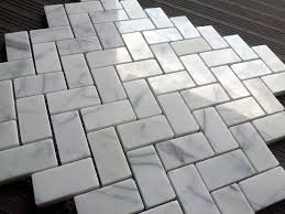 hip white marble herringbone tile floor for installing luxury