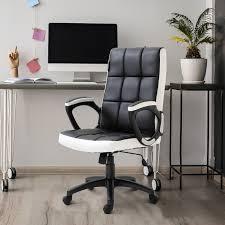 Vinsetto Office Gaming Study Chair W/PU Leather Sponge Nylon, 65.5W X 69D X  109-118Hcm-Black/White