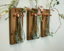 Teardrop Bottles Trio 3 Wall Decor Each Mounted On Wood Base For Unique Rustic