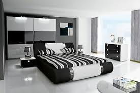 details zu schlafzimmer komplett hochglanz schwarz weiss bett kleiderschrank 2 nako