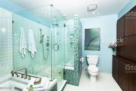 moderne wohnliche badezimmer mit dusche badewanne und glasfliesen stockfoto und mehr bilder architektur