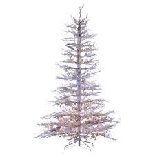 75 Ft Pre Lit Flocked White Twig Tree Artificial Christmas Clear Lights