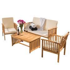 4PCS Patio Wood Finish Sofa Set w Cushions Wood