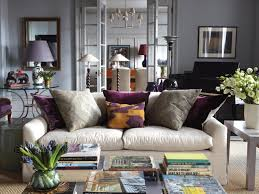 16 Grey And Purple Transitional Living Room