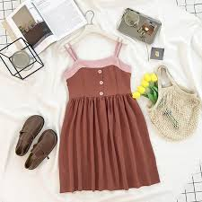 ItGirl Shop CUTE CARAMEL PINK LINE SUMMER BUTTONS DRESS Aesthetic Apparel Tumblr Clothes Soft