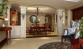 Chinese Dining Room Wood Furniture And Pillars Rendering