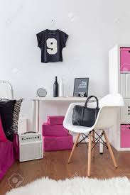 Girly Room With Deskchair And Flooring With Stylish Decorations