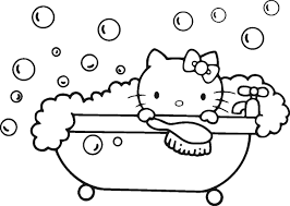 Hello Kitty Bubble Bath Coloring Pages For Kids Printable