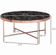 finebuy design couchtisch marmor optik schwarz rund ø82 5 cm mit kupfer metallgestell großer wohnzimmertisch lounge tisch