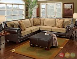 Awesome Traditional Brown And Tan Sectional Sofa With Nailhead Accents Design Idea