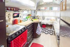 Camper Interior Decorating Ideas by Elegant Airstream Interior Design With Wooden Furnishing And