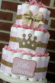 3 Tier Pink And Gold Princess Diaper Cake Baby Shower Little Girl Sparkly Decor Centerpiece