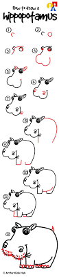 Hannas Cold Winter How To Draw A Hippo Steps
