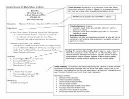College Application Sample Resumes Elegant High School Resume For Of Incredible
