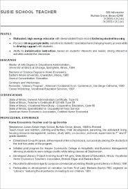 Career Profile Examples For Resume Example Economics Teacher Change Cv