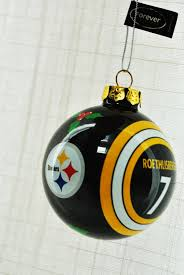 Ben Roethlisberger 7 Pittsburgh Steelers Collectors Edition Glass Painted Christmas Tree Ornament
